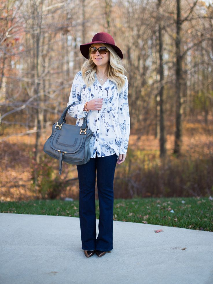 Animal Print Blouse and Flare Jeans - Mix & Match Fashion