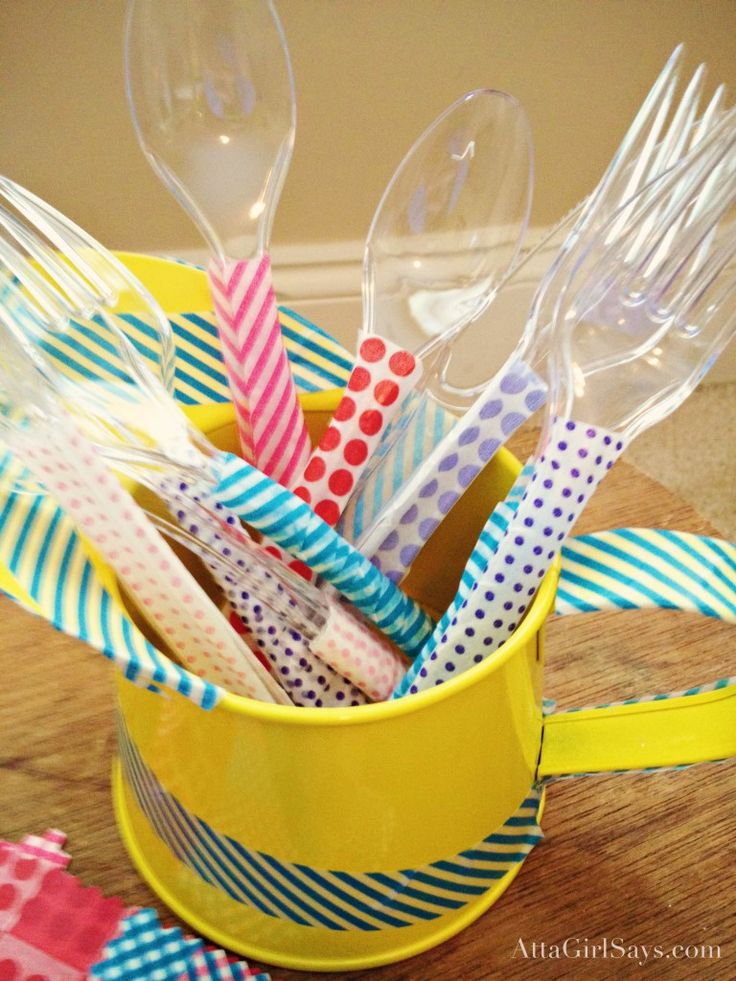 washi tape embellished spoons  forks!  {atta girl}