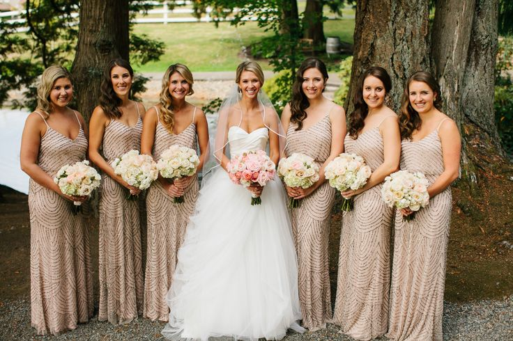 Gorgeous taupe bridesmaids dresses... so dreamy! View the full wedding here: http://thedailywedding.com/2016/06/12/lush-chateau-wedding-jessica-mike/