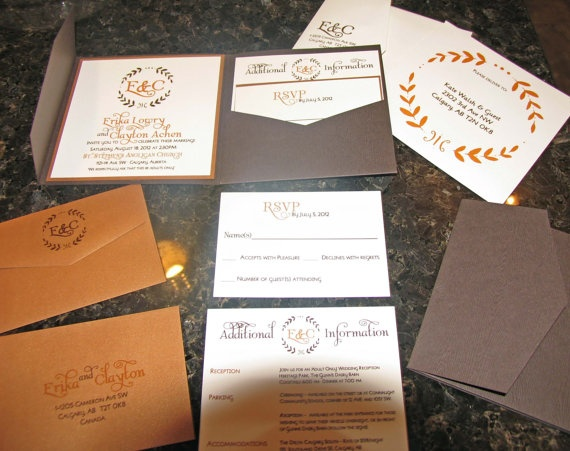 Rustic Bronze Wedding Invitation Set. $50.00, via Etsy.