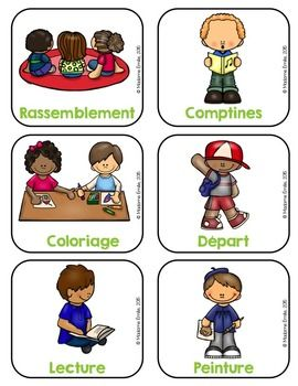 KINDERGARDEN FRENCH SCHEDULE/MENU DU JOUR DE LA MATERNELLE - TeachersPayTeachers.com