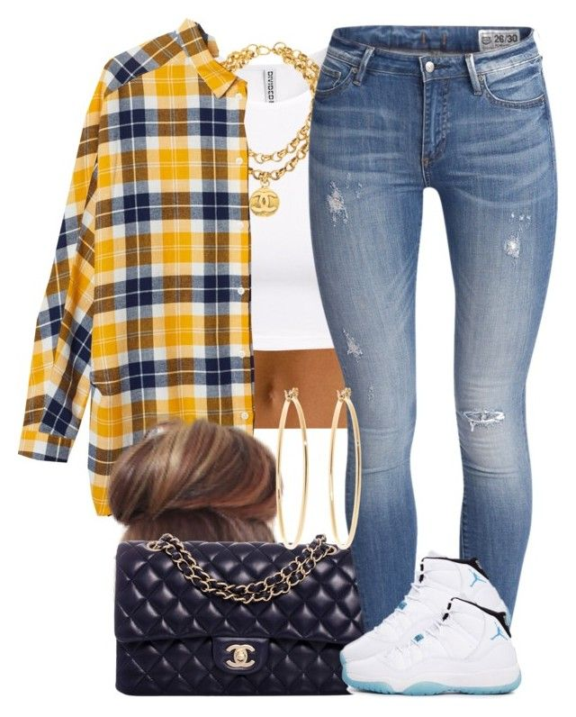 """Yellow Plaid."" by livelifefreelyy ❤ liked on Polyvore featuring H&M, Chanel, Monki and Brooks Brothers"