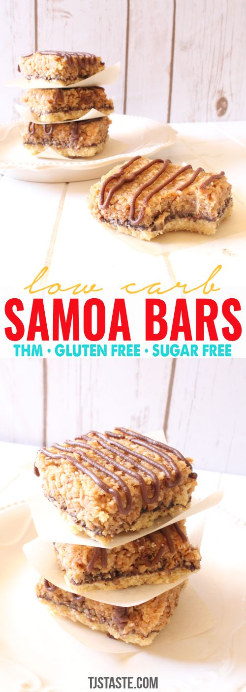 Low Carb Samoa Bars  #lowcarb #lowglycemic #glutenfree #sugarfree #samoa #samoacookies #carameldelite #carameldelight #caramel #coconut #THM #TrimHealthyMama #TrimHealthyMan #dessert via @TJsTaste