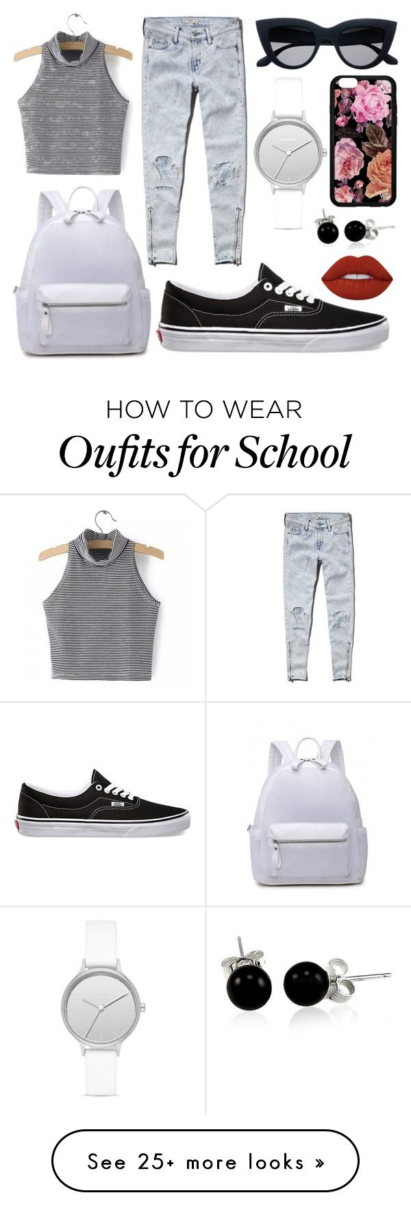 """School Day"" by susanna-trad on Polyvore featuring Abercrombie & Fitch, Vans, Skagen, Bling Jewelry and Lime Crime"