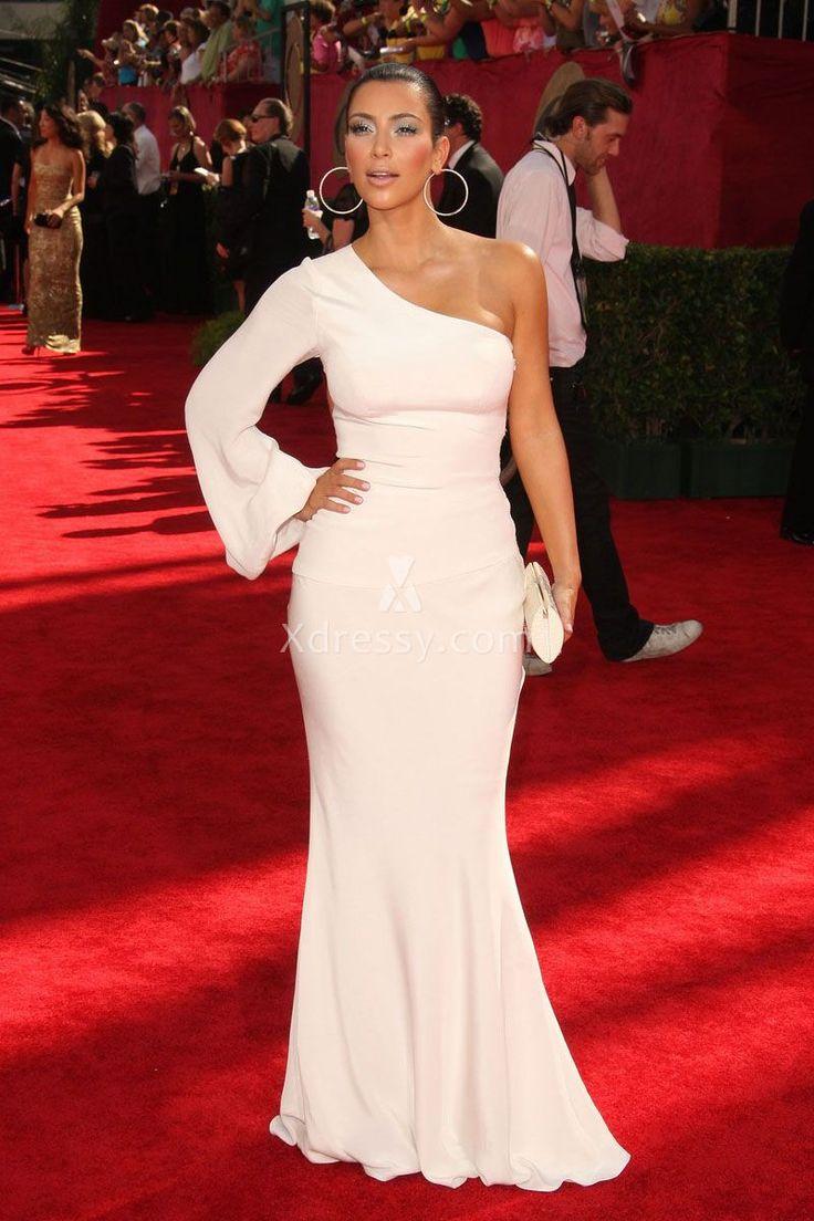 Kim Kardashian White Semi-formal One Shoulder Sleeve Evening Prom Dress Emmys…
