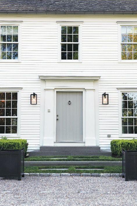 design by richard ward leslie cohen ward french photo credit amy vischio grey front door - Exterior Door Trim Simple