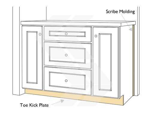 Scribe Molding And Toe Kick Panel Kitchen Design Cabinet