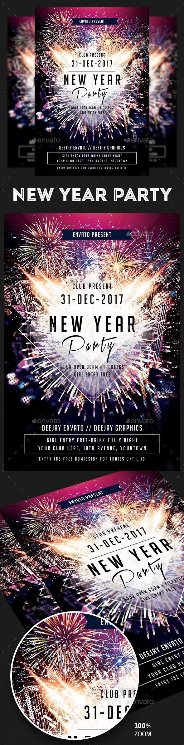 New Year Party Flyer — Photoshop PSD #party nye 2018 #new year bash • Available here → https://graphicriver.net/item/new-year-party-flyer/19055698?ref=pxcr