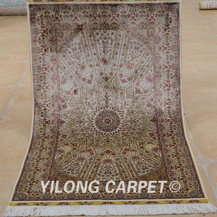 Yilong 3'x5' Oriental cashmere silk carpet…
