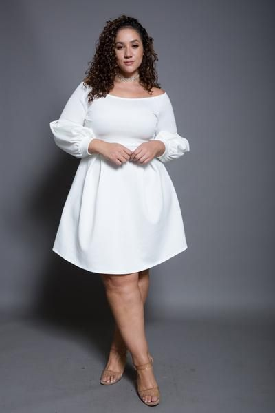 Plus size bubble long sleeved skater dress | g | Fashion, Plus size ...