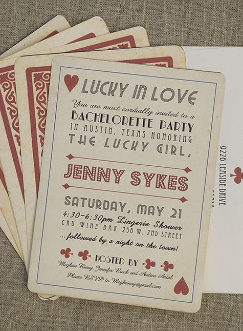 bachelorette party invite styled like vintage playing card by Memento Designs #invites #vintage #retro