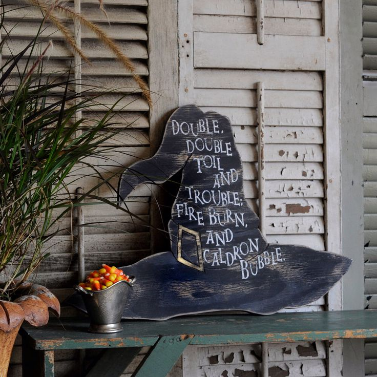 Witch Hat Halloween Party Decor Double, double, toil and trouble; fire burn, and caldron bubble by SlippinSouthern on Etsy https://www.etsy.com/listing/202884138/witch-hat-halloween-party-decor-double