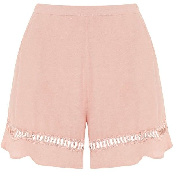 Desert Dusty Rose Shorts by Wydlr ($41) ❤ liked on Polyvore featuring shorts, pink, pink ruffle shorts, pink shorts, lace trim shorts, frilly shorts and ruffle shorts