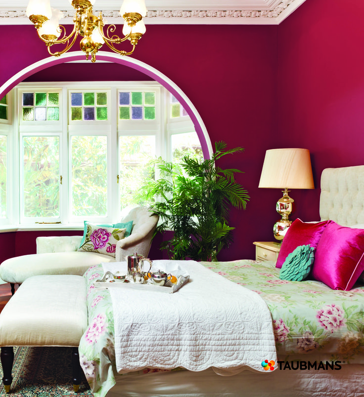Raspberry is the new red!  As red represents passion this colour palette adds an extra fizz to the bedroom. #Taubmans