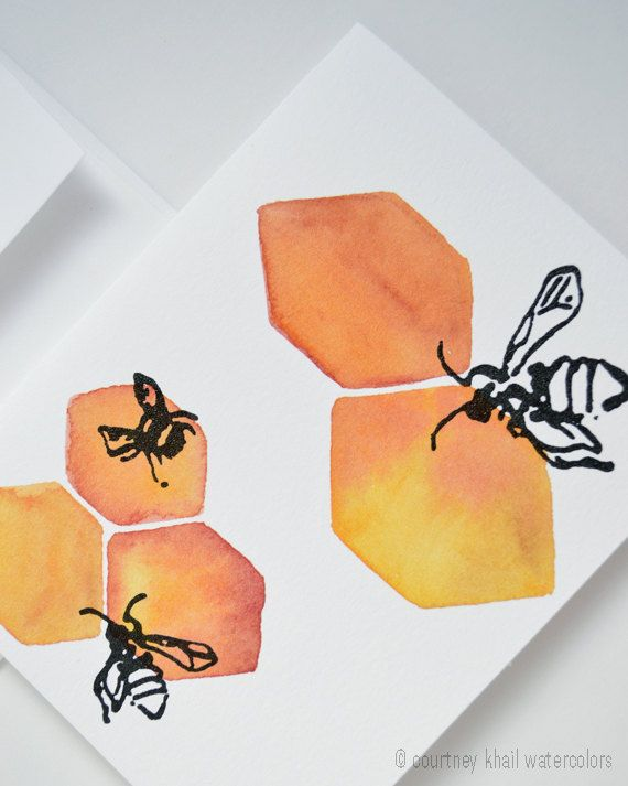 Honeycomb and Bees Watercolor Note Card by courtneykhail on Etsy