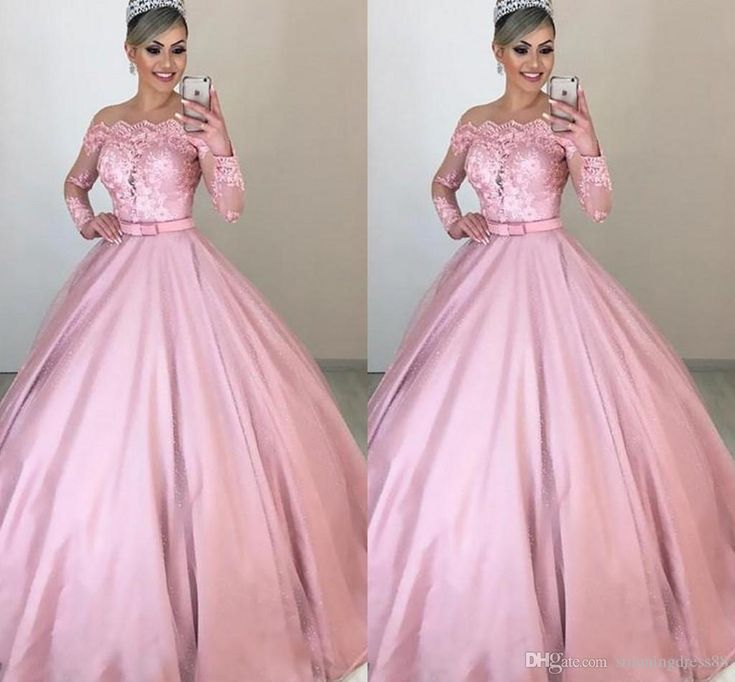 Lastest dusty pink ball gown cheap quinceanera prom