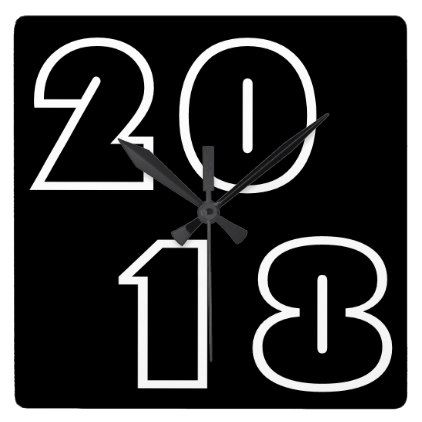 Happy New Year 2018 Numbers Black White Clock - minimal gifts style template diy unique personalize design