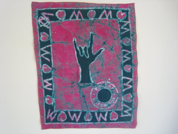 "Batik ""I Love You"" Wallhanging by students at Koforidua School for the Deaf. $12.00, via Etsy.  #Ghana #Deaf #Art"