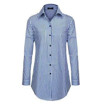 Zeagoo Women Loose Turn-down Collar Long Sleeve Striped Casual Shirt Blouse