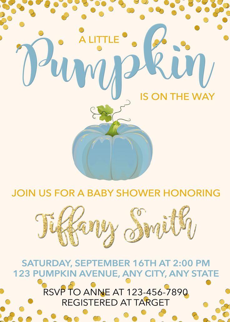 Pumpkin Baby Shower Invitation, Pumpkin Invitation, Fall Baby Shower Invitation, A little pumpkin is on the way baby shower invitation, boy