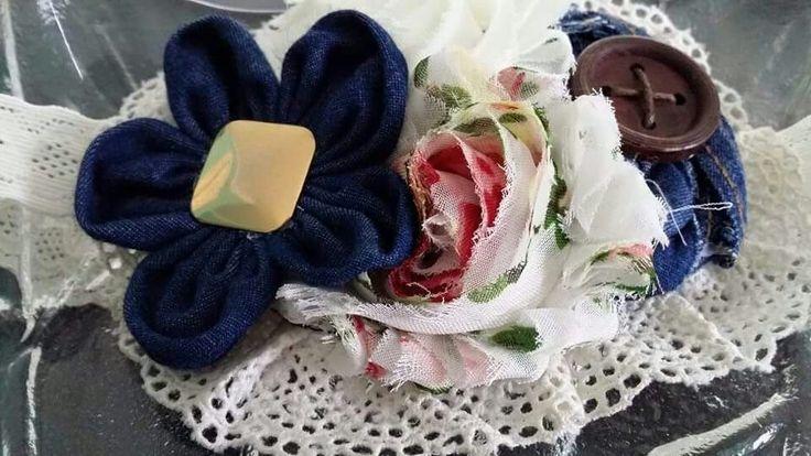 Gorgeous girls denim shabby chic headband. Made by 4 your beautiful angel