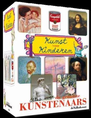 Dvd-box voor kinderen over 8 grote  : Leonardo da Vinci, Rembrandt van Rijn, Edgar Degas, Claude Monet, Michelangelo, Vincent van Gogh, Mary Cassatt en Andy Warhol.