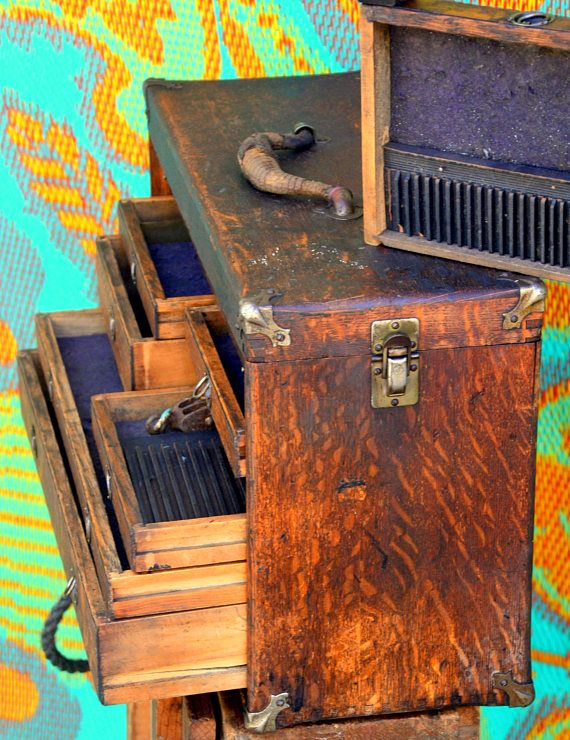 Rustic Antique Wooden Machinist Tool Box / Watchmakers Chest: