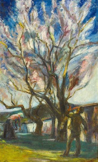 Kernstok Károly (1873-1940) Mandulaszüret Olaj, vászon, 80x50 cm