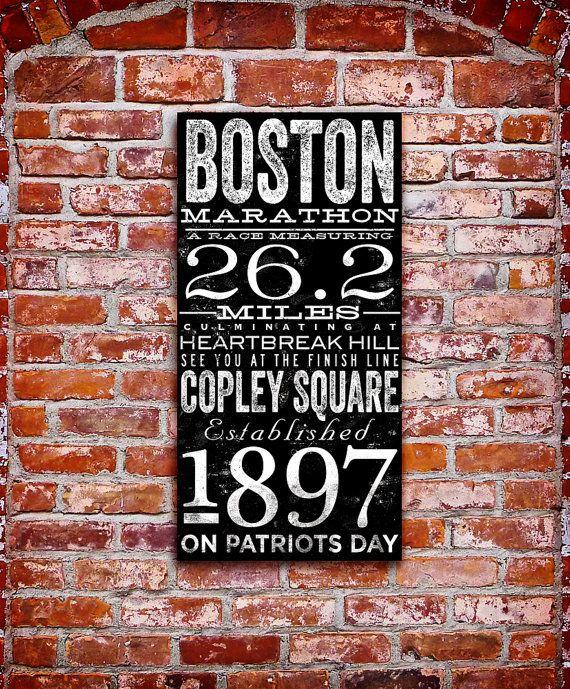 Boston Marathon original typography artwork by stephen fowler on gallery wrapped canvas on Etsy, $45.00