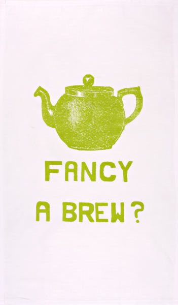 Fancy a Brew? (lime green) tea towel - Designer tea towels from ToDryFor.com