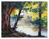 ORIGINAL OIL PAINTING Tumut River Australia Traditional Landscape by G.Gercken Award winning Artist