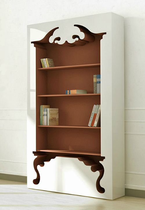 Negative space bookcase