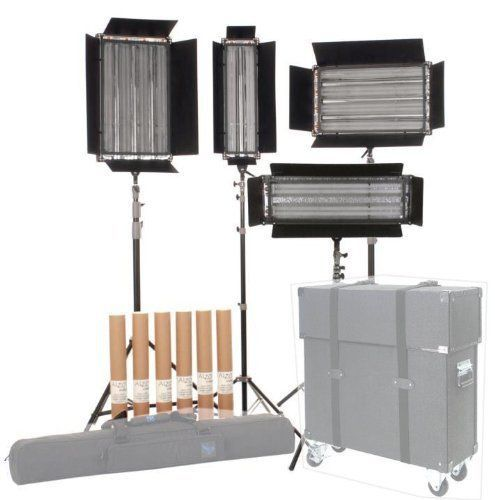 ALZO Pan-L-Lite 4-Light Kit No Cases - 2 sets of light bulbs - compact dimmable light kit for video production