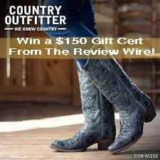 1 Winner will receive a $150 Gift Card to Country Outfitter!http://www.thereviewwire.com/2013/03/18/country-outfitter-review-the-review-wire/
