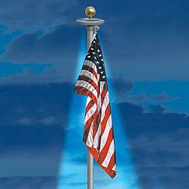 20-LED Solar Powered Garden Decor Light Top Flag Pole Flagpole Landscape Light – USD $ 44.99