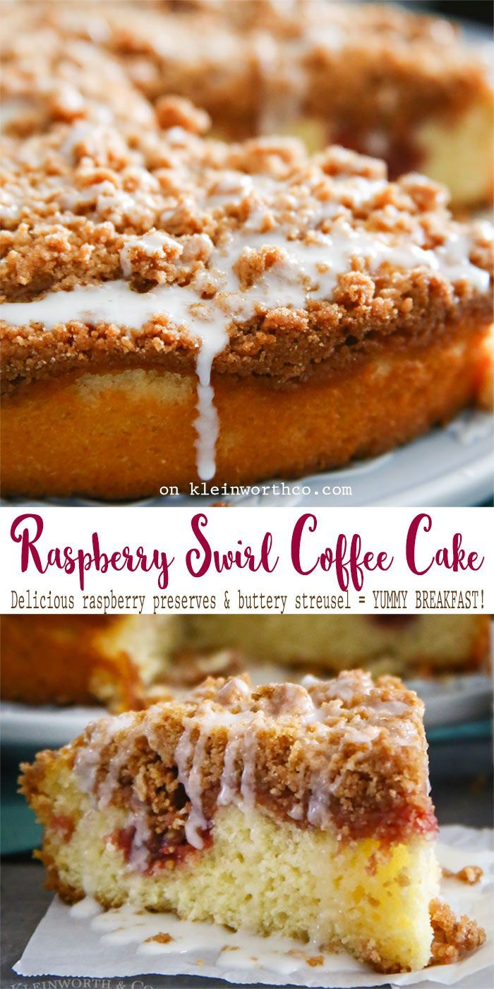 Raspberry Swirl Coffee Cake is a delectable breakfast cake recipe swirled with sweet raspberry preserves & topped with buttery streusel & sugar glaze. YUM! AD