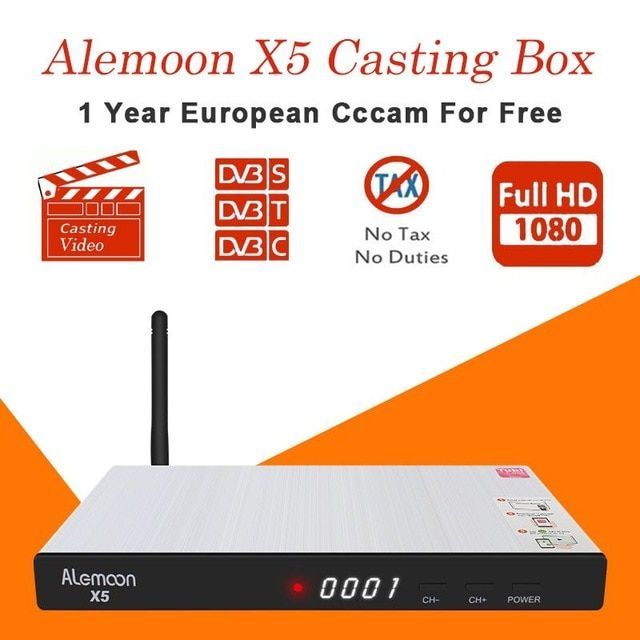 ALEMOON X5 IPTV Receiver Satellite HD receptor with 1 year