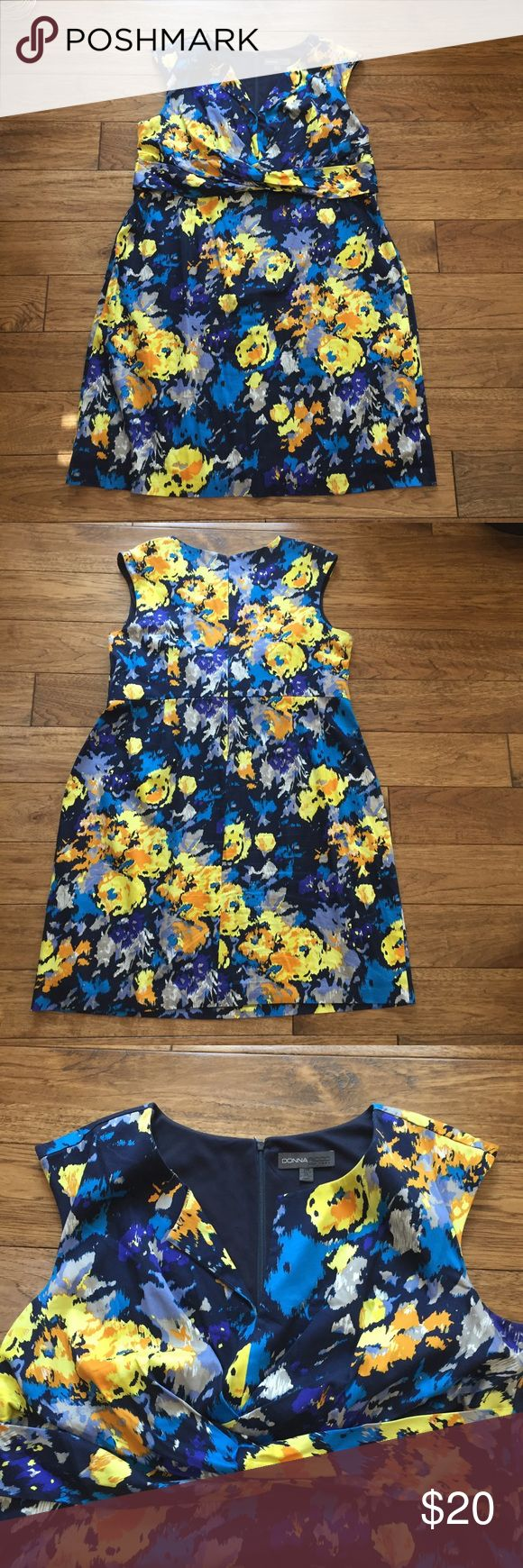 Donna Ricco Floral Blue/Yellow Dress Donna Ricco Floral Blue/Yellow Dress - excellent condition. Hardly worn. Perfect for work or formal events. Beautiful detailing! Donna Ricco Dresses