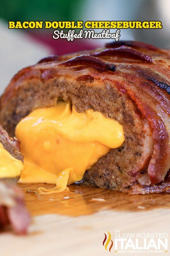 Bacon Double Cheeseburger Stuffed Meatloaf - A meatloaf bursting with steak flavors is just about enough to make my mouth water, but stuffing it with cheese and covering it in the delicious brown sugar ketchup glaze and layered thick cut bacon put this recipe over the top.