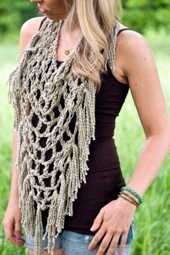 Fishnet Fringe Scarf Crochet Pattern Pdf Etsy Knit And Crochet