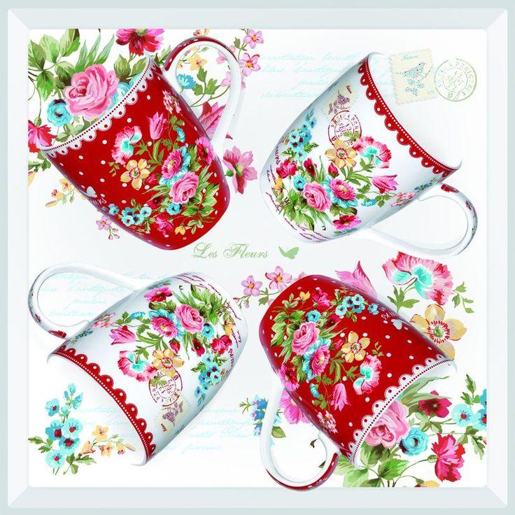 Zestaw 4 kubków 350 ml z porcelany, 953 JARE - NUOVA R2S - DECO Salon || #valentinesday #gift #giftidea