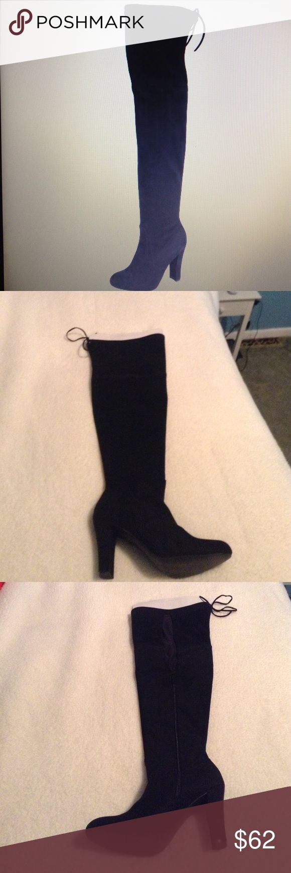 Christian Siriano Ziya Black Suede Thigh High boot Christian Siriano for Payless, Ziya Black Suede Thigh High Boot, Smooth Material, Brand New Never Worn, Has a Calf extension sewn in for more Calf room w/ Black Lycra and is hidden on the inside outer side of the boot hidden from view, Has a 4 inch Heel, Ties at the top, Comes in original Box😄 christian Siriano for Payless Shoes Over the Knee Boots