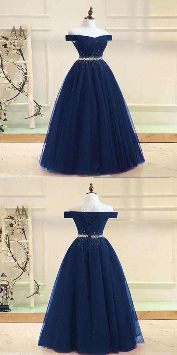 740ef409300 A-Line Navy Blue Off Shoulder Tulle Beaded Long Prom Dresses