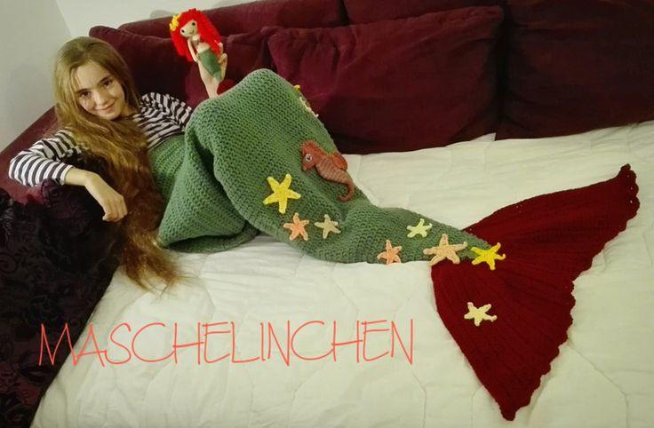 SET Meerjungfrau Decke Häkelanleitung + Ariella  von MASCHELINCHEN auf DaWanda.com