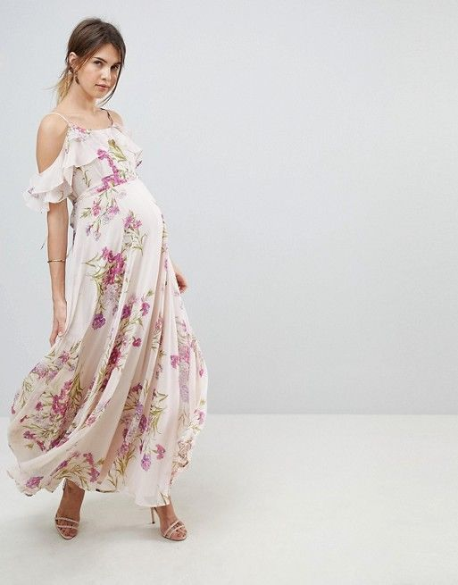 01c00457e0e36 ASOS MATERNITY Floral Print Maxi Dress with Ruffle Cold Shoulder  bridesmaids dress