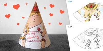 Valentines Day Cupid Cone. Printable. Love. Cute. Valentine's Day.