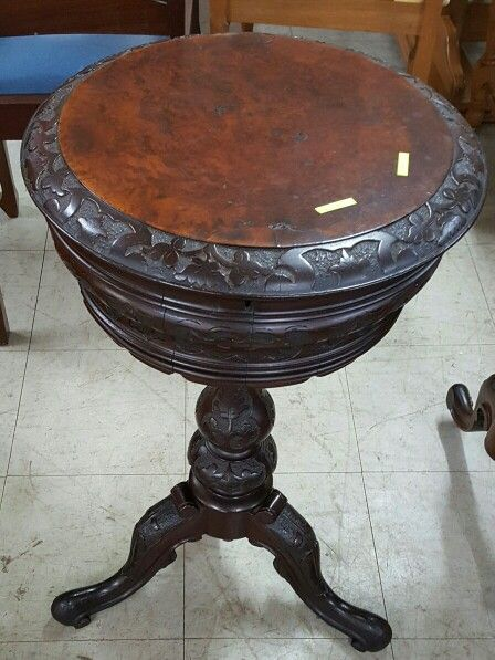 Carved Sewing Box Table