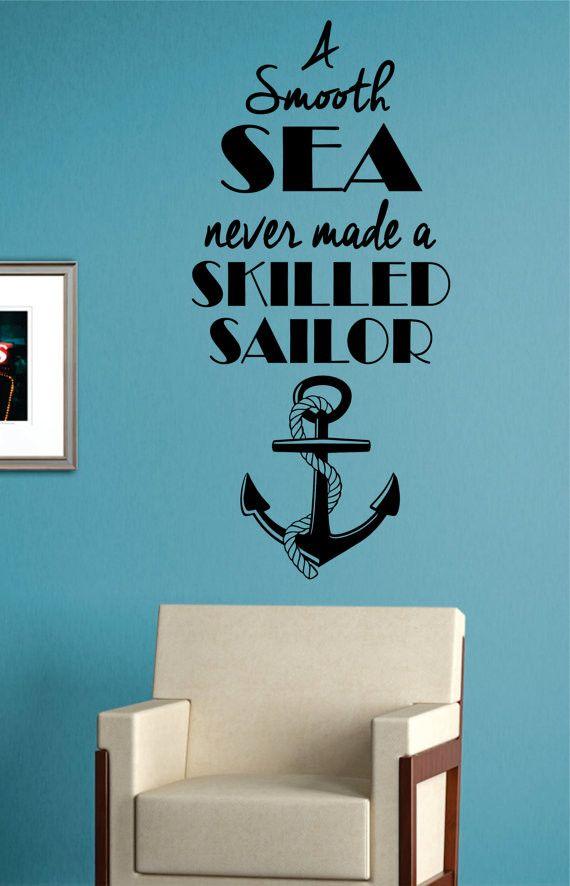 Skilled Sailor Anchor Quote Version 2 Nautical Ocean Beach Decal Sticker Wall Vinyl Art Decor