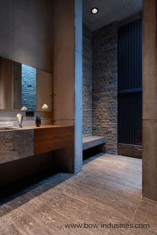 Bathroom Inside The Penthouse Of WWII Bunker In Berlin Which Houses Boros Collection I Like Material Palette Stark And Strong Materials