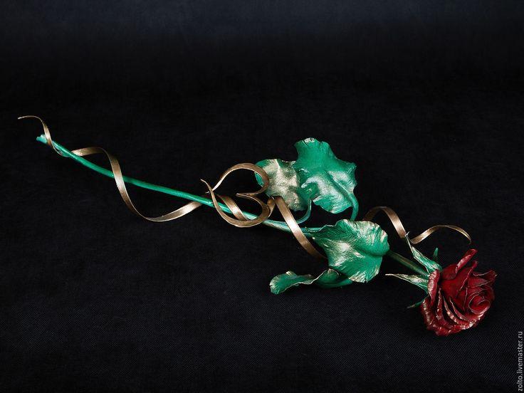 """Купить """"Красная Королева"""" №1 вариант исполнения, роза из стали - кованая роза, художественная ковка"""